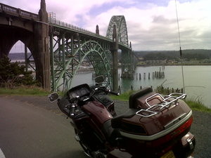 Newport bridge and bike